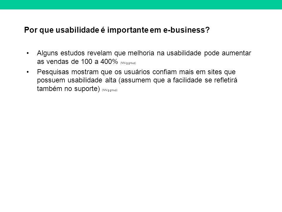 Por que usabilidade é importante em e-business? Alguns estudos revelam que melhoria na usabilidade pode aumentar as vendas de 100 a 400% (NN/g group)