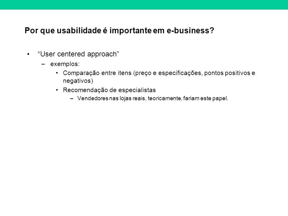 Por que usabilidade é importante em e-business? User centered approach –exemplos: Comparação entre itens (preço e especificações, pontos positivos e n