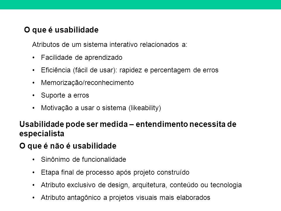O que é usabilidade Atributos de um sistema interativo relacionados a: Facilidade de aprendizado Eficiência (fácil de usar): rapidez e percentagem de