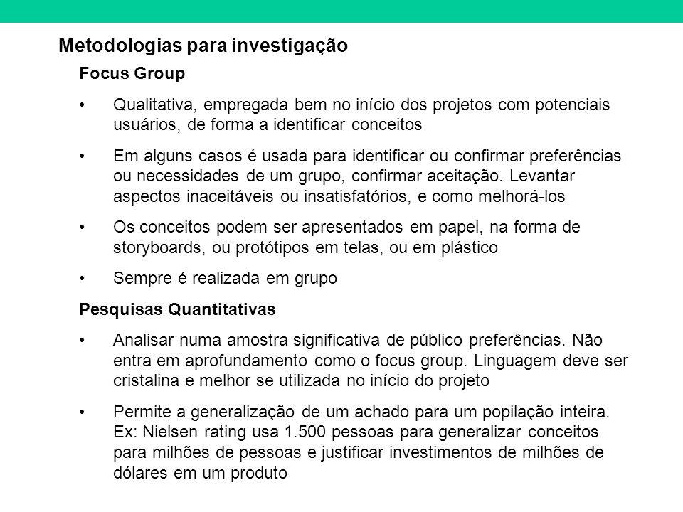 Metodologias para investigação Focus Group Qualitativa, empregada bem no início dos projetos com potenciais usuários, de forma a identificar conceitos