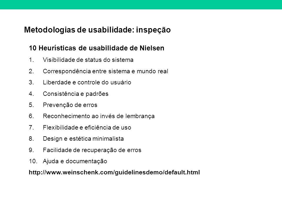 Metodologias de usabilidade: inspeção 10 Heurísticas de usabilidade de Nielsen 1.Visibilidade de status do sistema 2.Correspondência entre sistema e m