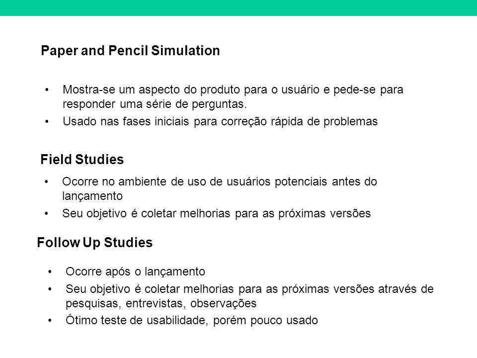 Paper and Pencil Simulation Mostra-se um aspecto do produto para o usuário e pede-se para responder uma série de perguntas. Usado nas fases iniciais p