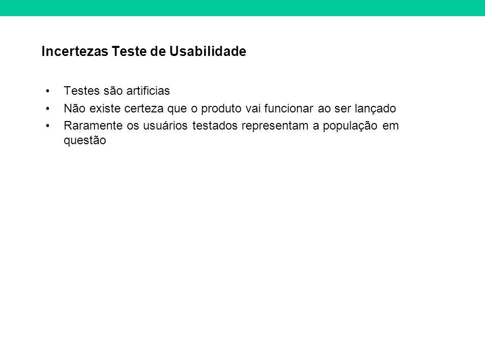 Incertezas Teste de Usabilidade Testes são artificias Não existe certeza que o produto vai funcionar ao ser lançado Raramente os usuários testados representam a população em questão