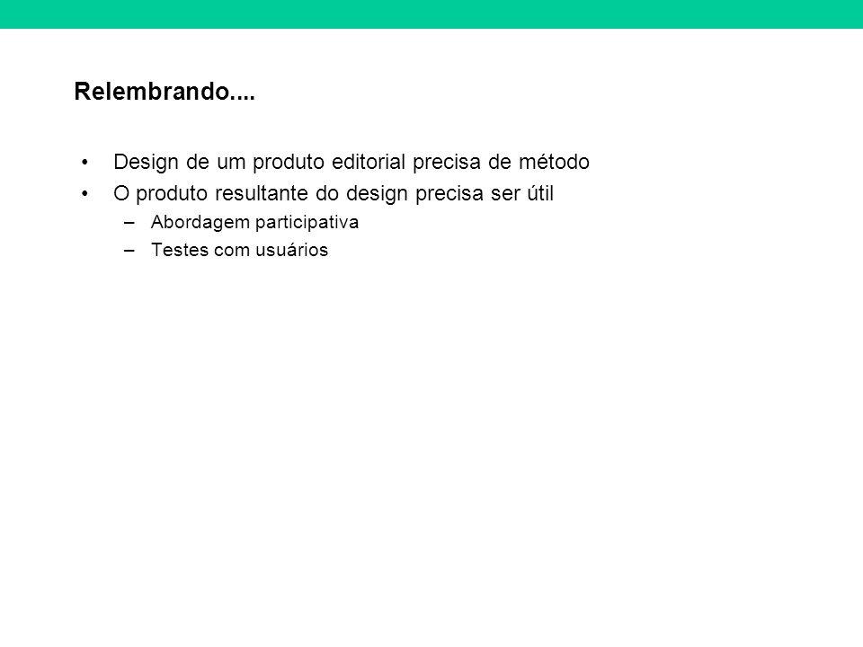Relembrando.... Design de um produto editorial precisa de método O produto resultante do design precisa ser útil –Abordagem participativa –Testes com