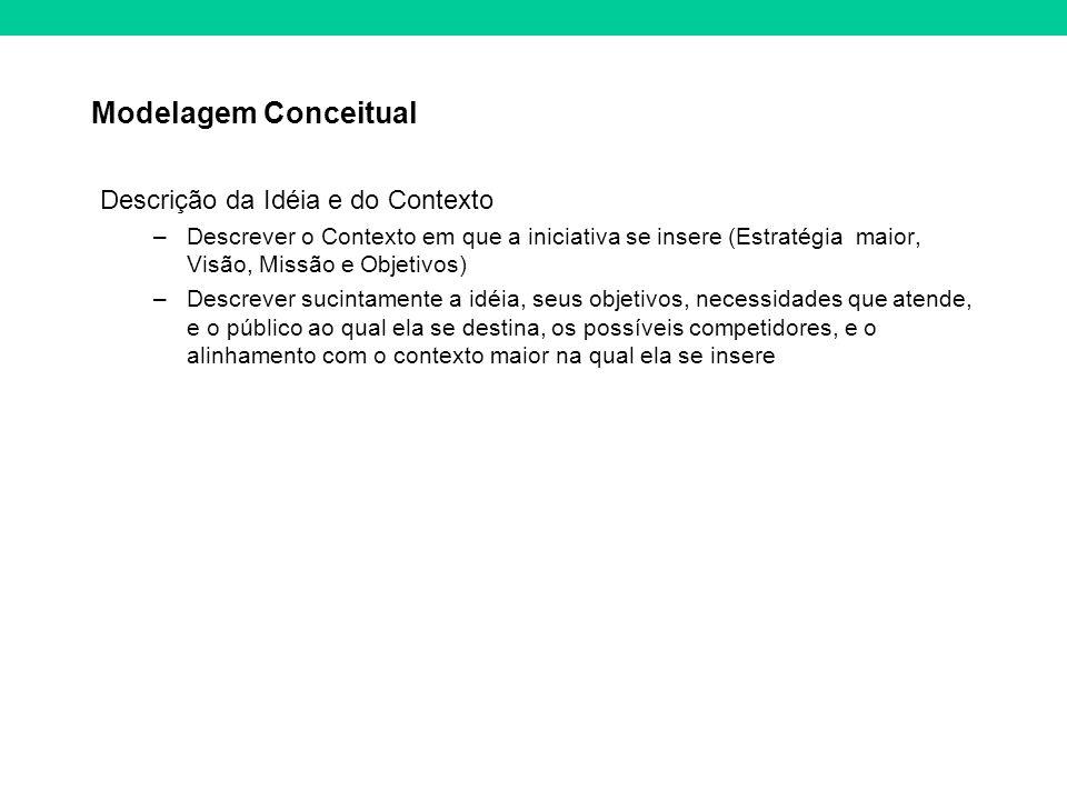 Modelagem Conceitual Descrição da Idéia e do Contexto –Descrever o Contexto em que a iniciativa se insere (Estratégia maior, Visão, Missão e Objetivos