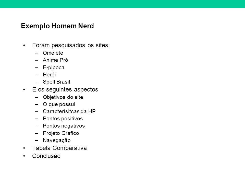 Exemplo Homem Nerd Foram pesquisados os sites: –Omelete –Anime Pró –E-pipoca –Herói –Spell Brasil E os seguintes aspectos –Objetivos do site –O que po