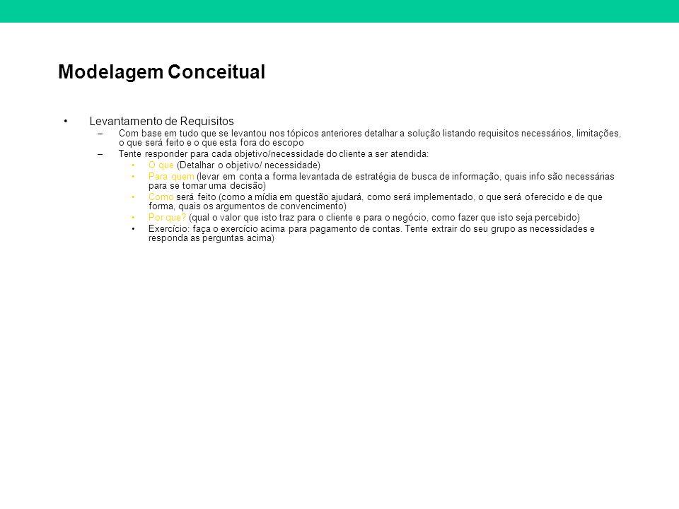 Modelagem Conceitual Levantamento de Requisitos –Com base em tudo que se levantou nos tópicos anteriores detalhar a solução listando requisitos necess