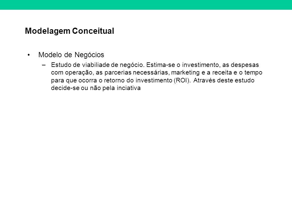 Modelagem Conceitual Modelo de Negócios –Estudo de viabiliade de negócio. Estima-se o investimento, as despesas com operação, as parcerias necessárias