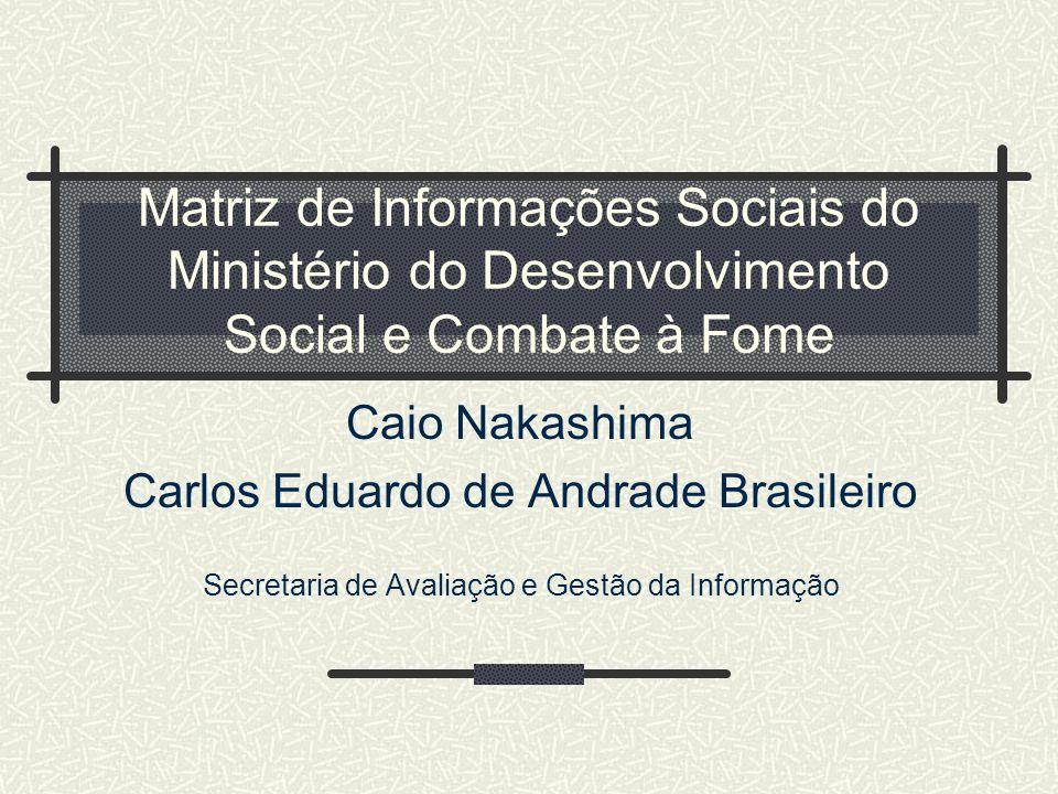 Matriz de Informações Sociais do Ministério do Desenvolvimento Social e Combate à Fome Caio Nakashima Carlos Eduardo de Andrade Brasileiro Secretaria