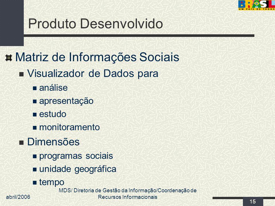 abril/2006 MDS/ Diretoria de Gestão da Informação/Coordenação de Recursos Informacionais 15 Produto Desenvolvido Matriz de Informações Sociais Visuali