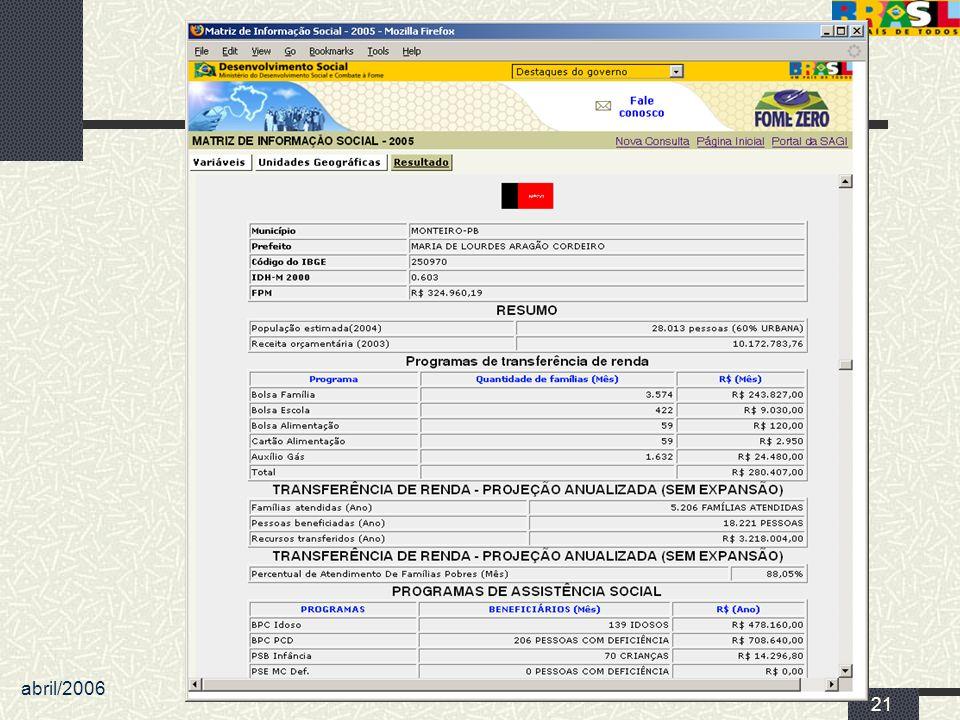 abril/2006 MDS/ Diretoria de Gestão da Informação/Coordenação de Recursos Informacionais 21