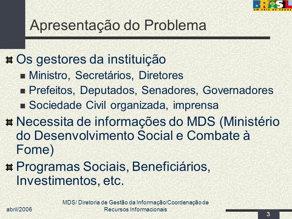 abril/2006 MDS/ Diretoria de Gestão da Informação/Coordenação de Recursos Informacionais 3 Apresentação do Problema Os gestores da instituição Ministr