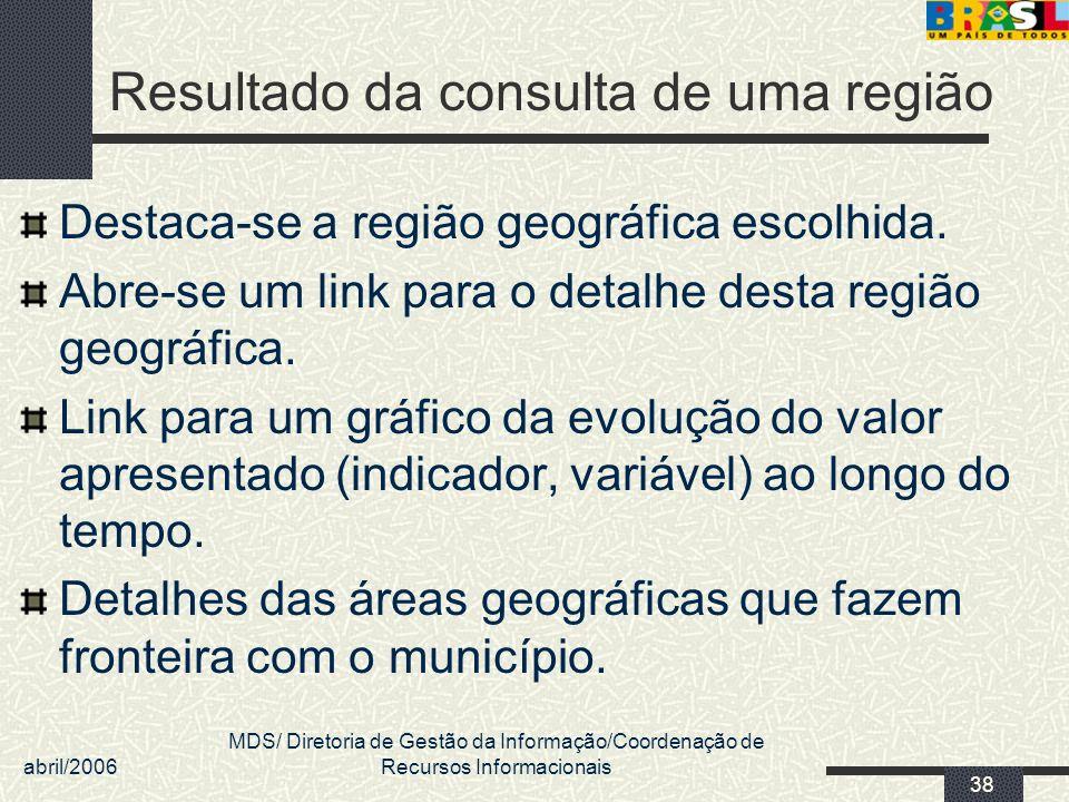 abril/2006 MDS/ Diretoria de Gestão da Informação/Coordenação de Recursos Informacionais 38 Resultado da consulta de uma região Destaca-se a região ge