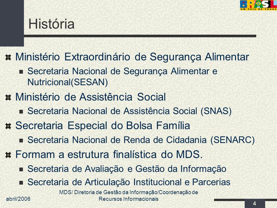 abril/2006 MDS/ Diretoria de Gestão da Informação/Coordenação de Recursos Informacionais 5 Cenário Planilhas DATAPREV CONAB TRE Tesouro Nacional Caixa Econômica Federal Relatórios PNUD IBGE
