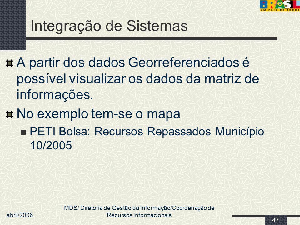 abril/2006 MDS/ Diretoria de Gestão da Informação/Coordenação de Recursos Informacionais 47 Integração de Sistemas A partir dos dados Georreferenciado