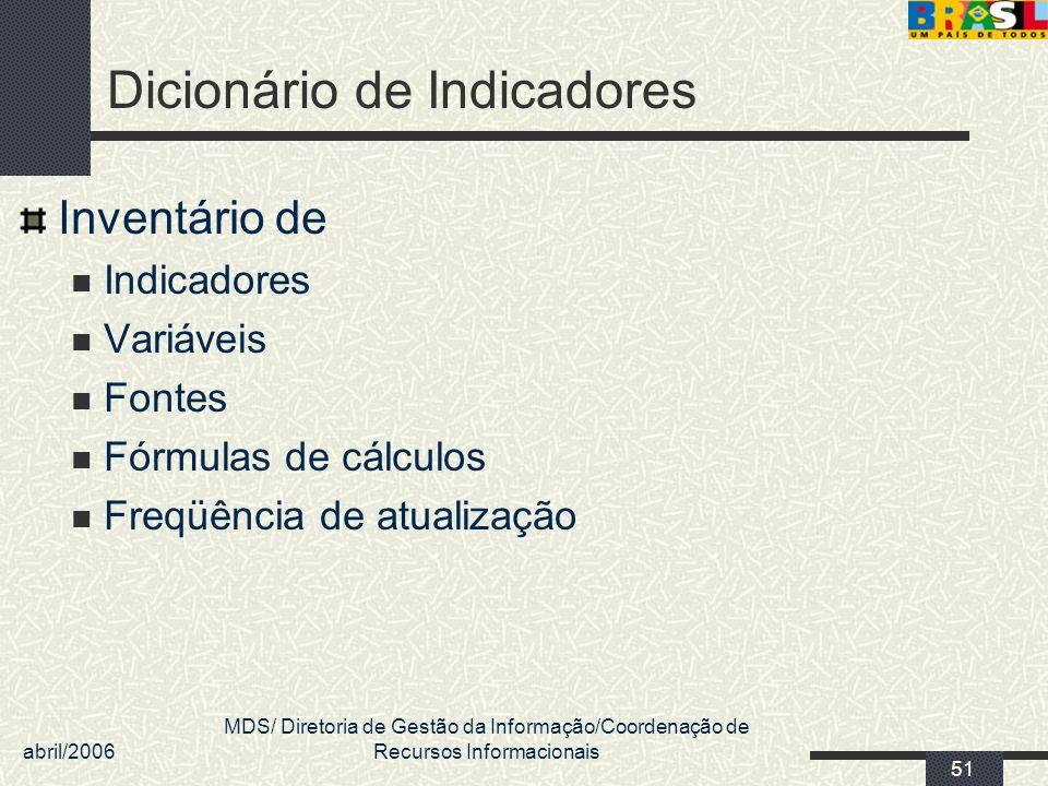 abril/2006 MDS/ Diretoria de Gestão da Informação/Coordenação de Recursos Informacionais 51 Dicionário de Indicadores Inventário de Indicadores Variáv
