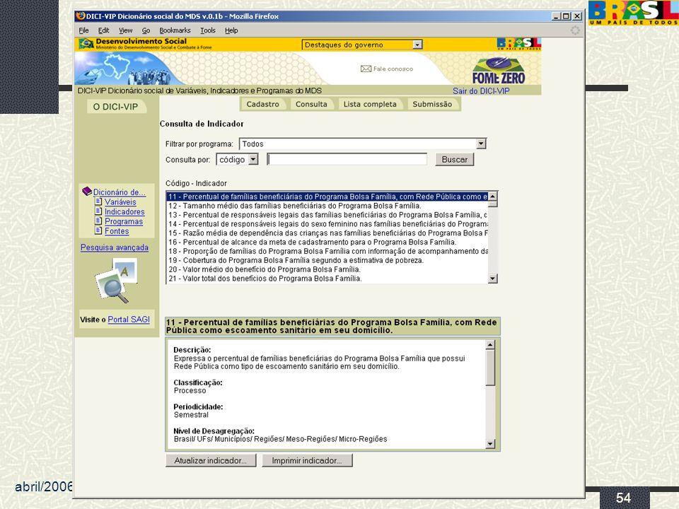 abril/2006 MDS/ Diretoria de Gestão da Informação/Coordenação de Recursos Informacionais 54