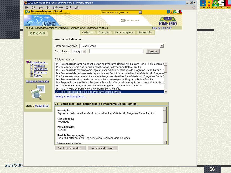 abril/2006 MDS/ Diretoria de Gestão da Informação/Coordenação de Recursos Informacionais 56