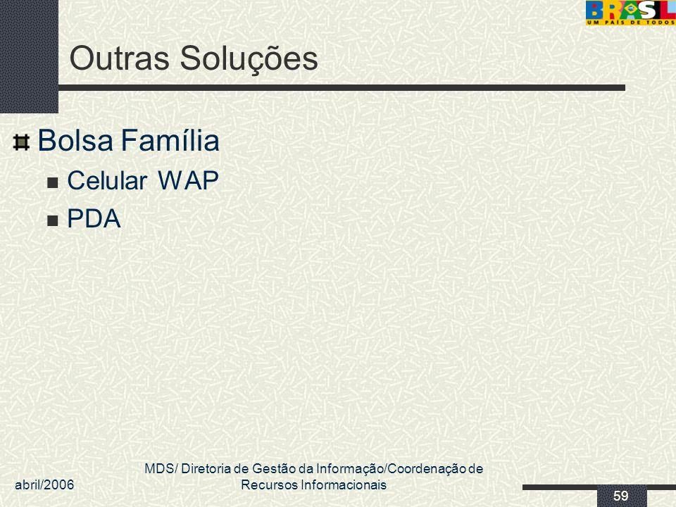 abril/2006 MDS/ Diretoria de Gestão da Informação/Coordenação de Recursos Informacionais 59 Outras Soluções Bolsa Família Celular WAP PDA