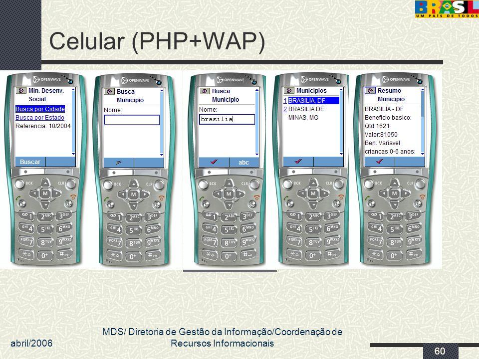 abril/2006 MDS/ Diretoria de Gestão da Informação/Coordenação de Recursos Informacionais 60 Celular (PHP+WAP)