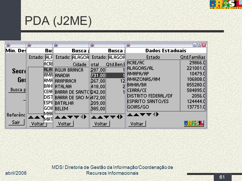 abril/2006 MDS/ Diretoria de Gestão da Informação/Coordenação de Recursos Informacionais 61 PDA (J2ME)
