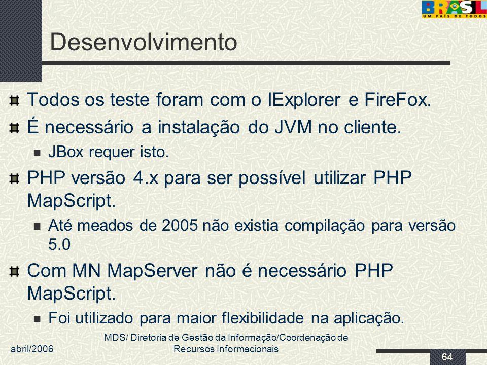abril/2006 MDS/ Diretoria de Gestão da Informação/Coordenação de Recursos Informacionais 64 Desenvolvimento Todos os teste foram com o IExplorer e Fir