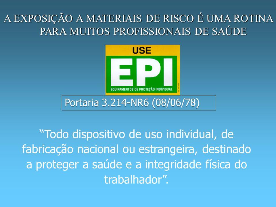 Portaria 3.214-NR6 (08/06/78) Todo dispositivo de uso individual, de fabricação nacional ou estrangeira, destinado a proteger a saúde e a integridade