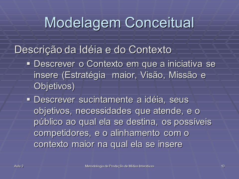 Aula 2Metodologia de Produção de Mídias Interativas13 Modelagem Conceitual Descrição da Idéia e do Contexto Descrever o Contexto em que a iniciativa se insere (Estratégia maior, Visão, Missão e Objetivos) Descrever o Contexto em que a iniciativa se insere (Estratégia maior, Visão, Missão e Objetivos) Descrever sucintamente a idéia, seus objetivos, necessidades que atende, e o público ao qual ela se destina, os possíveis competidores, e o alinhamento com o contexto maior na qual ela se insere Descrever sucintamente a idéia, seus objetivos, necessidades que atende, e o público ao qual ela se destina, os possíveis competidores, e o alinhamento com o contexto maior na qual ela se insere