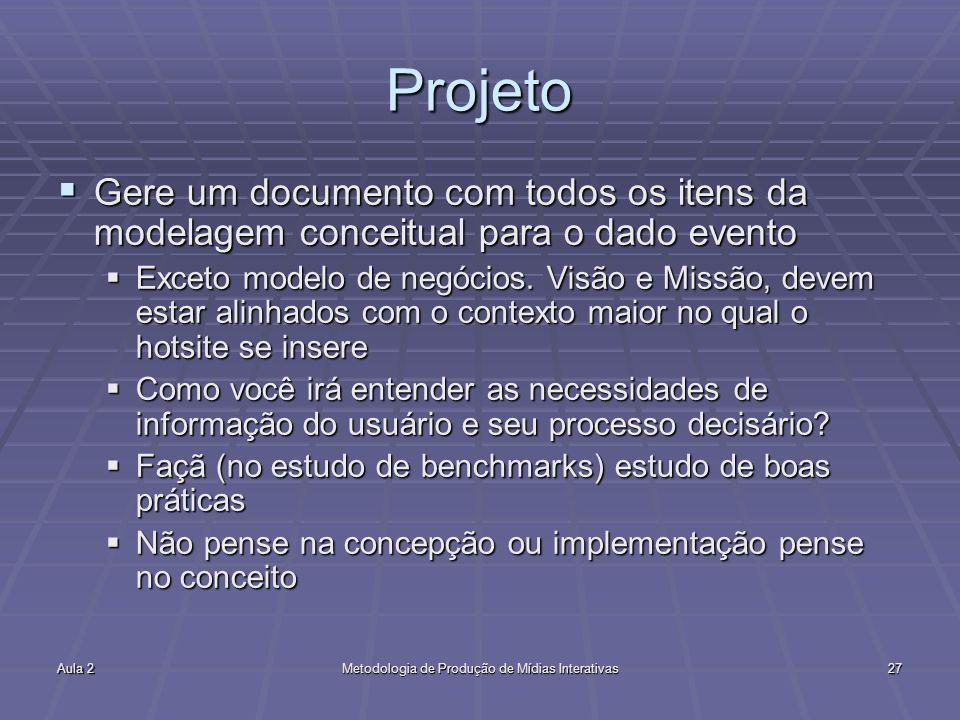 Aula 2Metodologia de Produção de Mídias Interativas27 Projeto Gere um documento com todos os itens da modelagem conceitual para o dado evento Gere um documento com todos os itens da modelagem conceitual para o dado evento Exceto modelo de negócios.