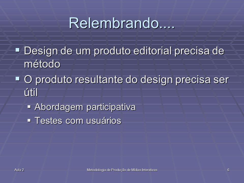 Aula 2Metodologia de Produção de Mídias Interativas6 Relembrando....