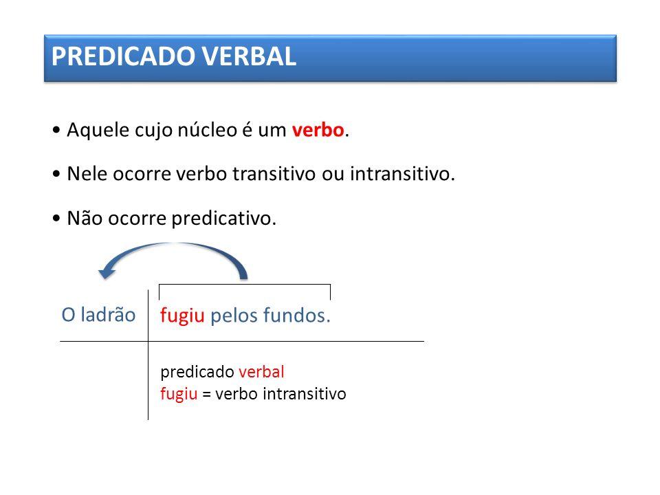 PREDICADO VERBAL Aquele cujo núcleo é um verbo.Nele ocorre verbo transitivo ou intransitivo.
