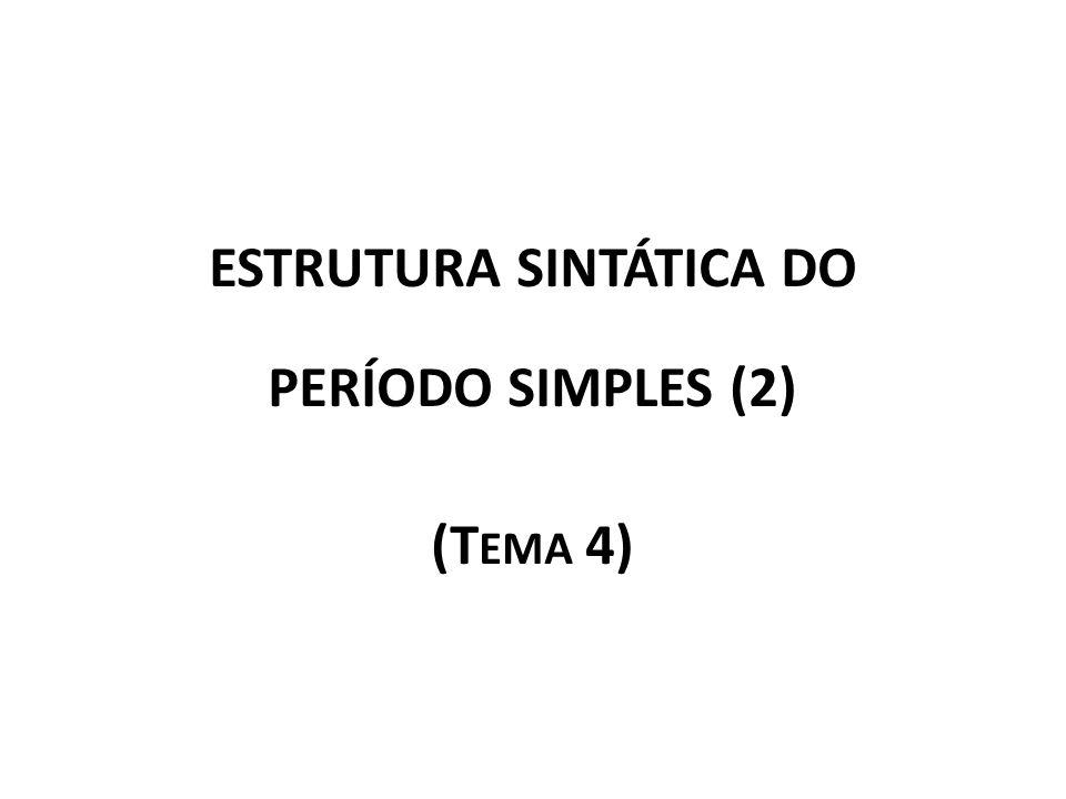 ESTRUTURA SINTÁTICA DO PERÍODO SIMPLES (2) (T EMA 4)
