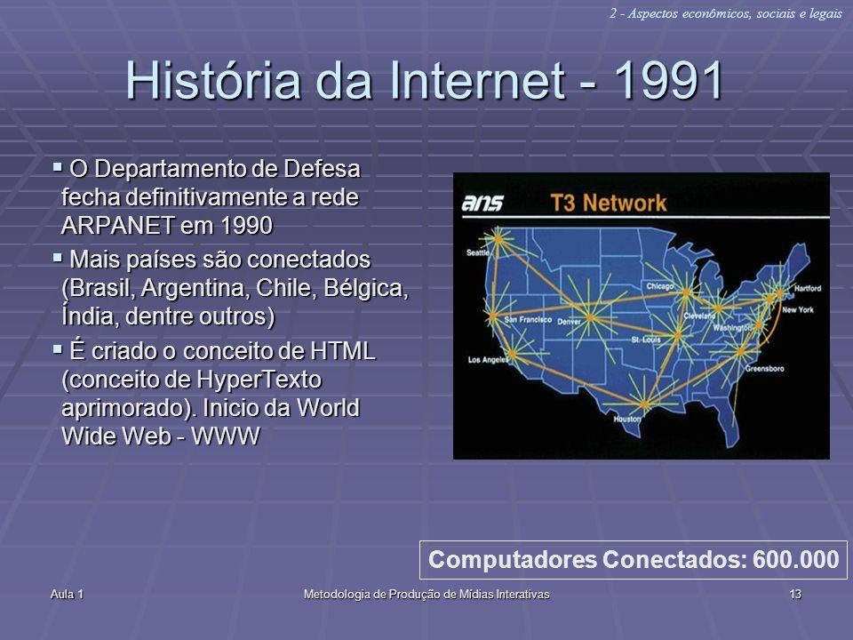 Aula 1Metodologia de Produção de Mídias Interativas13 História da Internet - 1991 O Departamento de Defesa fecha definitivamente a rede ARPANET em 199