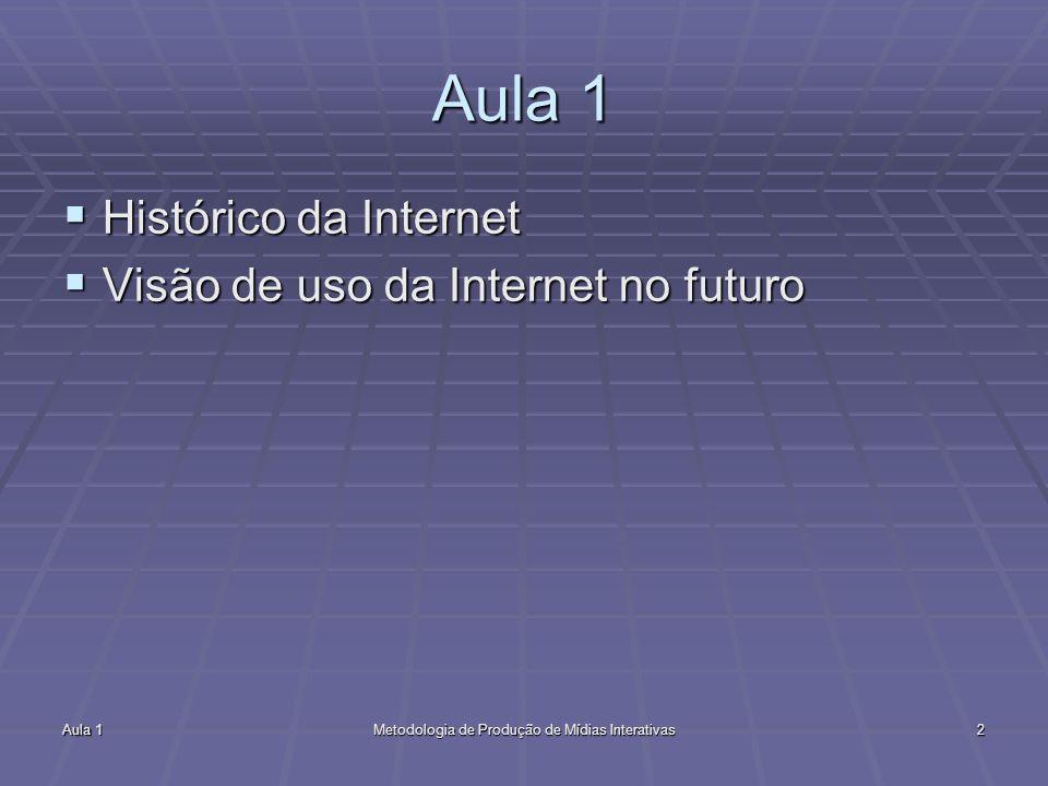 Aula 1Metodologia de Produção de Mídias Interativas2 Aula 1 Histórico da Internet Histórico da Internet Visão de uso da Internet no futuro Visão de us