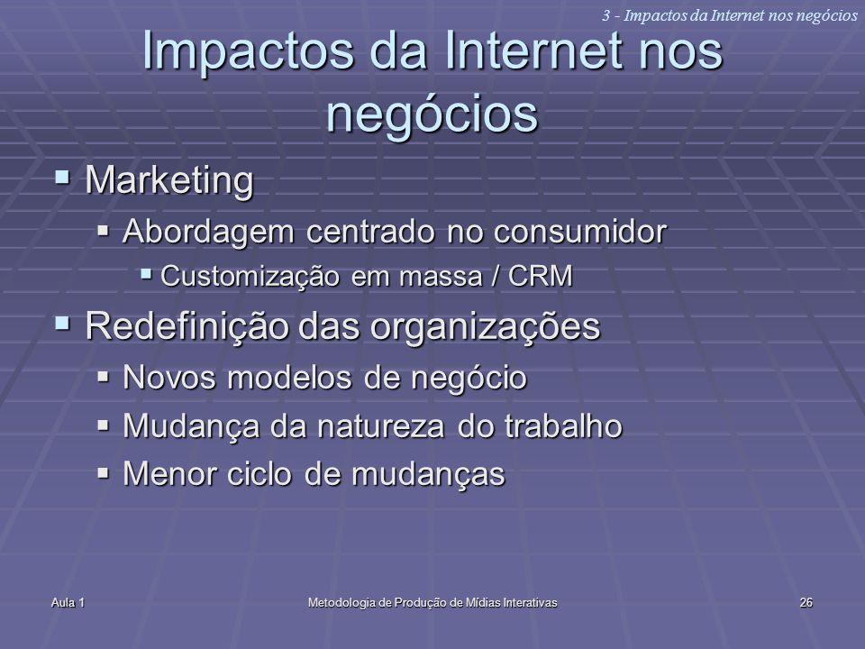 Aula 1Metodologia de Produção de Mídias Interativas26 Impactos da Internet nos negócios Marketing Marketing Abordagem centrado no consumidor Abordagem