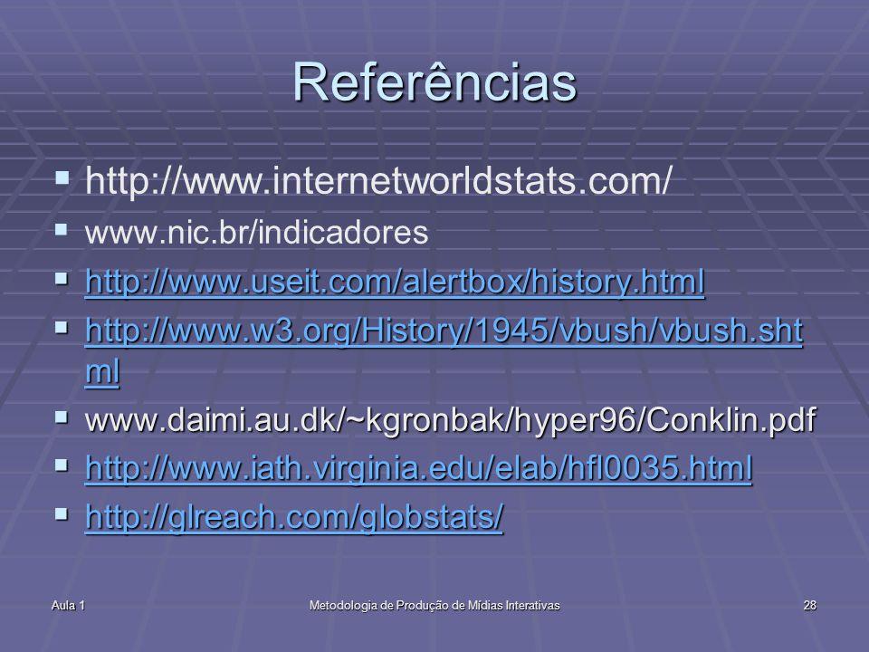 Aula 1Metodologia de Produção de Mídias Interativas28 Referências http://www.internetworldstats.com/ www.nic.br/indicadores http://www.useit.com/alert