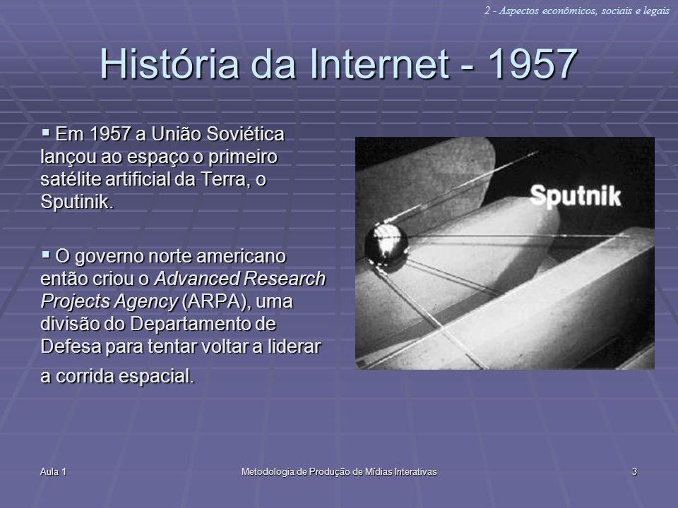 Aula 1Metodologia de Produção de Mídias Interativas3 História da Internet - 1957 Em 1957 a União Soviética lançou ao espaço o primeiro satélite artifi