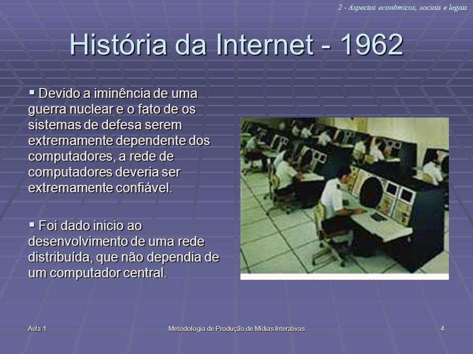 Aula 1Metodologia de Produção de Mídias Interativas4 História da Internet - 1962 Devido a iminência de uma guerra nuclear e o fato de os sistemas de d