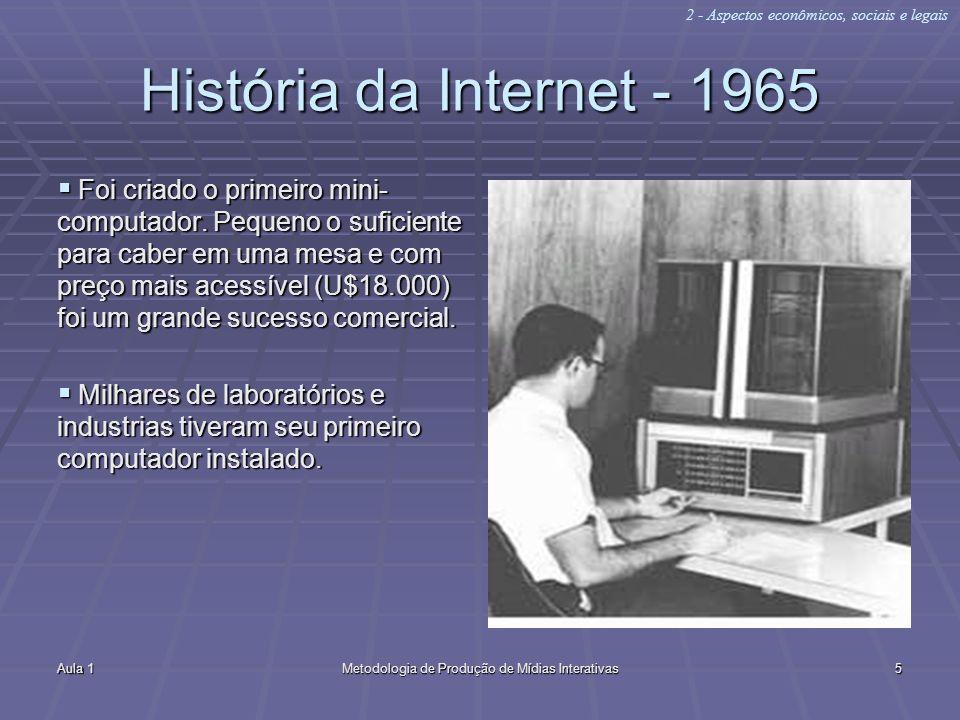 Aula 1Metodologia de Produção de Mídias Interativas5 História da Internet - 1965 Foi criado o primeiro mini- computador. Pequeno o suficiente para cab
