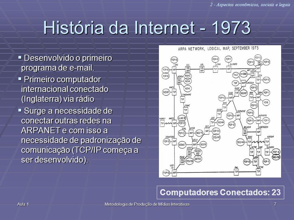 Aula 1Metodologia de Produção de Mídias Interativas7 História da Internet - 1973 Desenvolvido o primeiro programa de e-mail. Desenvolvido o primeiro p
