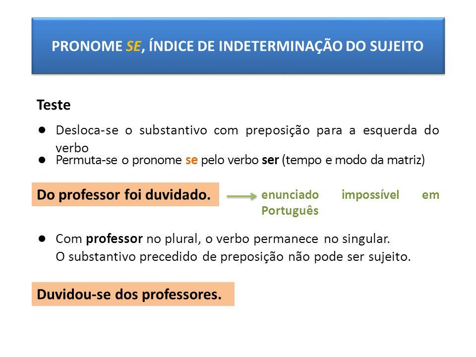 PRONOME SE, ÍNDICE DE INDETERMINAÇÃO DO SUJEITO Teste Desloca-se o substantivo com preposição para a esquerda do verbo Permuta-se o pronome se pelo ve