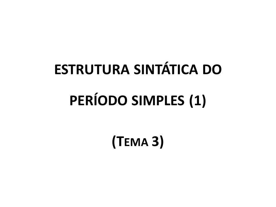 ESTRUTURA SINTÁTICA DO PERÍODO SIMPLES (1) (T EMA 3)