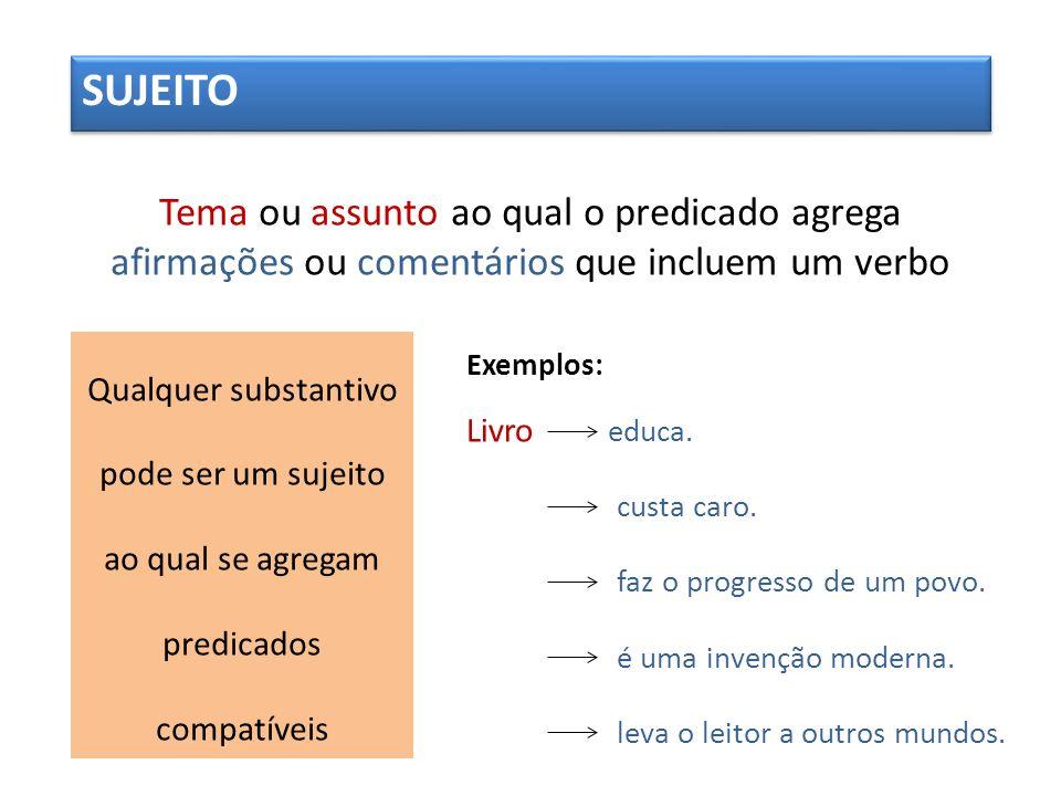 Tema ou assunto ao qual o predicado agrega afirmações ou comentários que incluem um verbo SUJEITO Qualquer substantivo pode ser um sujeito ao qual se