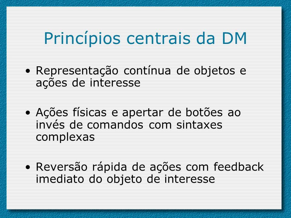 Princípios centrais da DM Representação contínua de objetos e ações de interesse Ações físicas e apertar de botões ao invés de comandos com sintaxes c