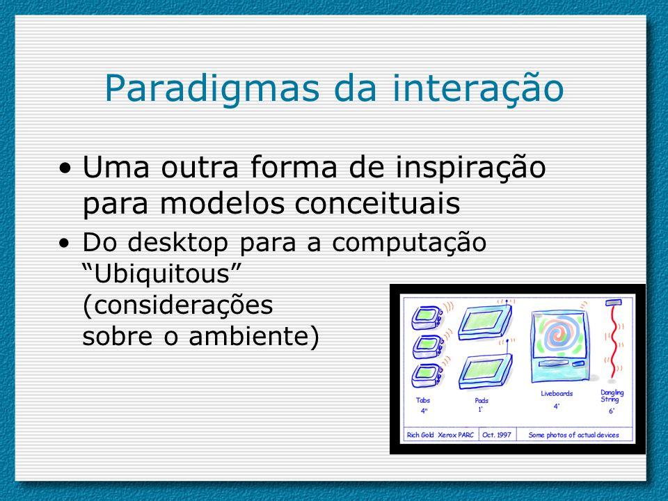 Paradigmas da interação Uma outra forma de inspiração para modelos conceituais Do desktop para a computação Ubiquitous (considerações sobre o ambiente