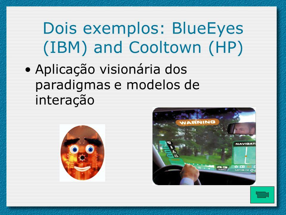 Dois exemplos: BlueEyes (IBM) and Cooltown (HP) Aplicação visionária dos paradigmas e modelos de interação