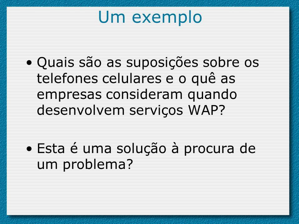 Um exemplo Quais são as suposições sobre os telefones celulares e o quê as empresas consideram quando desenvolvem serviços WAP? Esta é uma solução à p