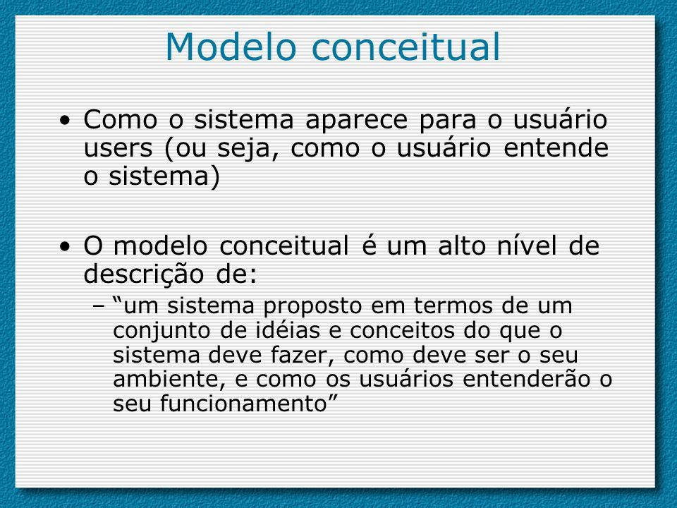 Modelo conceitual Como o sistema aparece para o usuário users (ou seja, como o usuário entende o sistema) O modelo conceitual é um alto nível de descr