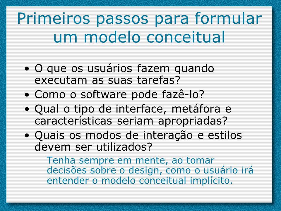 Primeiros passos para formular um modelo conceitual O que os usuários fazem quando executam as suas tarefas? Como o software pode fazê-lo? Qual o tipo