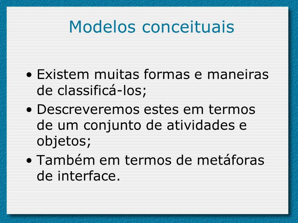 Modelos conceituais Existem muitas formas e maneiras de classificá-los; Descreveremos estes em termos de um conjunto de atividades e objetos; Também e